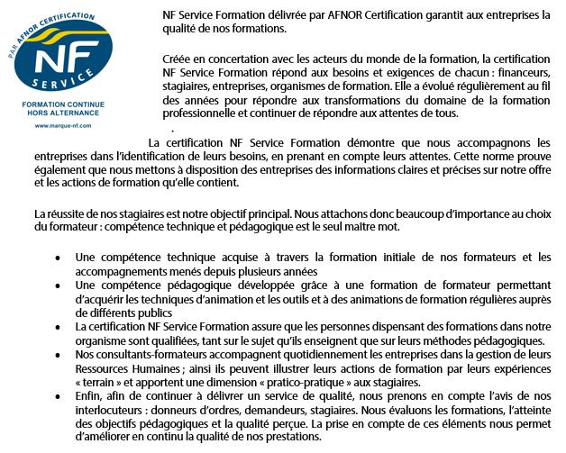 Description de NF service